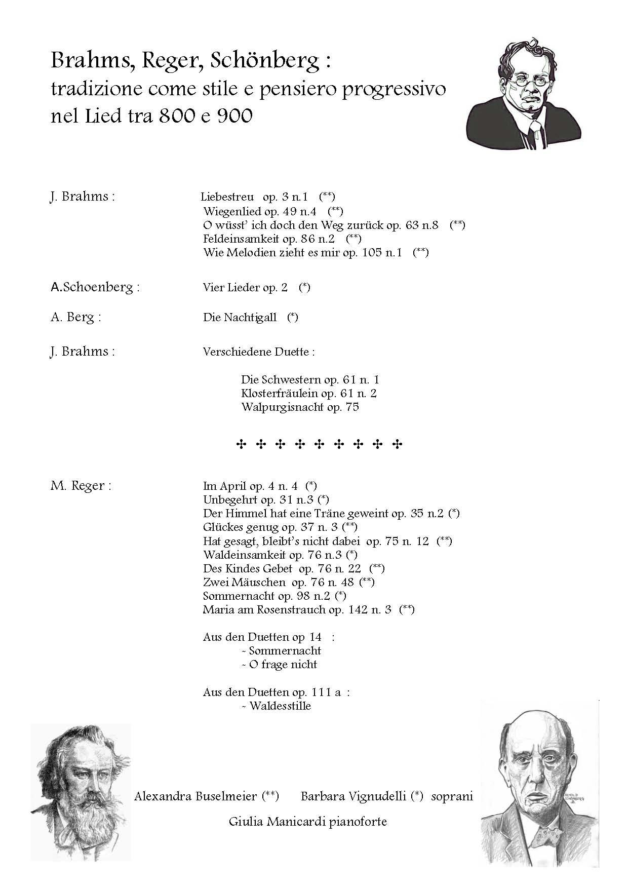 Liederabend Brahms, Reger, Schonberg