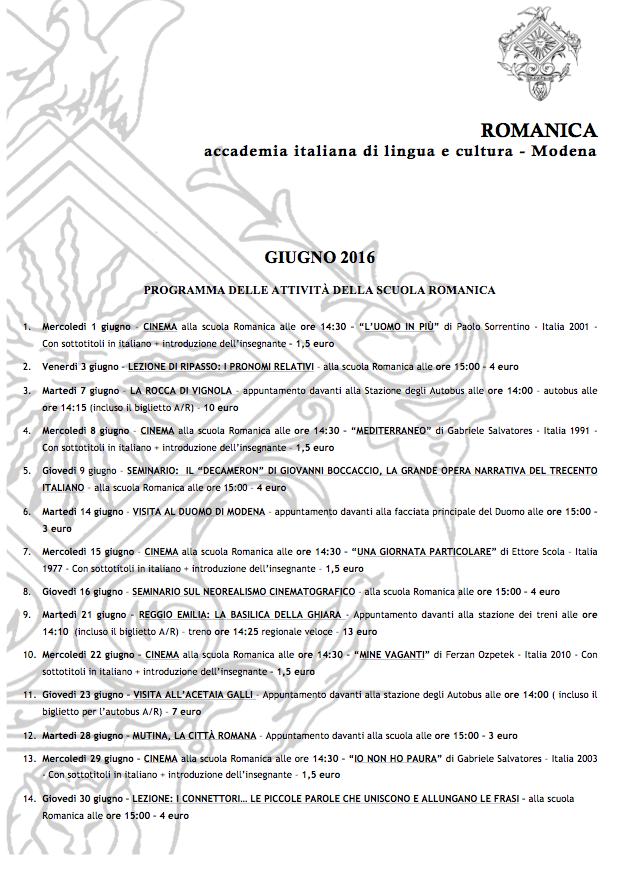 2016-06 -  Romanica programma attività giugno - IWA