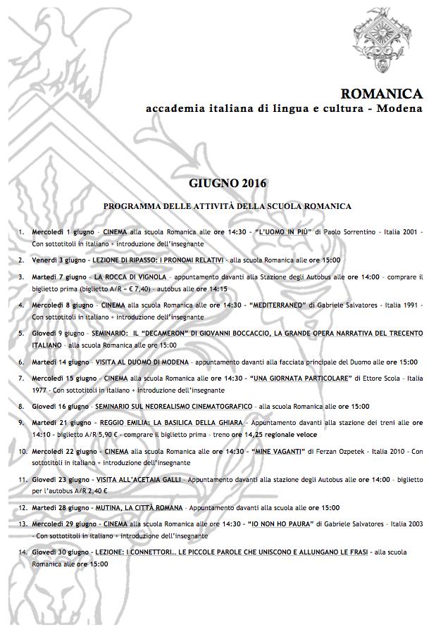 2016-06 -  Romanica programma attività giugno - fb