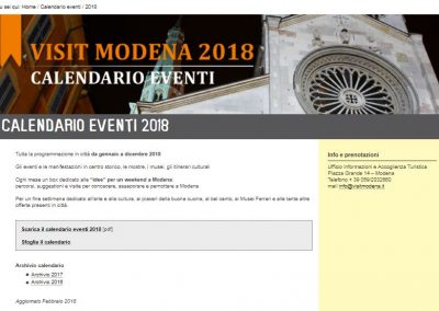 2018 Events Calendar of Modena City